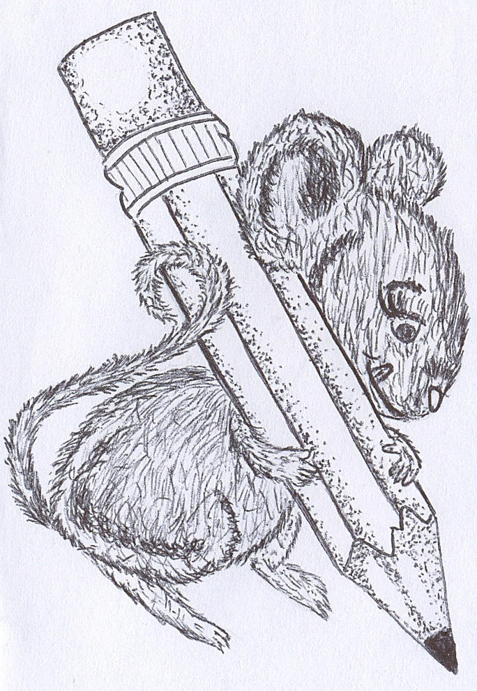 pencil drawing of cute mouse holding a pencil bigger than itself and writing on paper